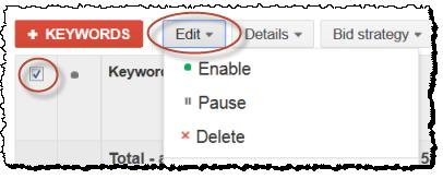adwords delete keywords