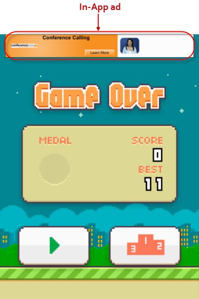 Flappy Bird In-App ads