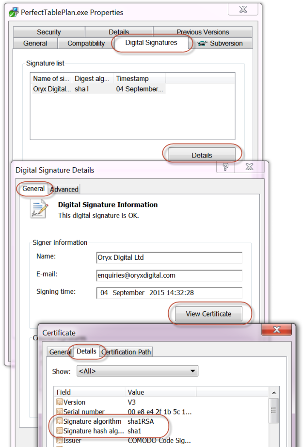 sha1 digital certificate
